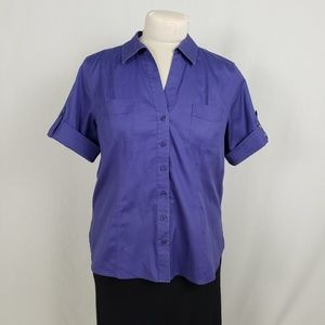 Chico's Button Blouse Size 3 Purple Elbow Sleeves